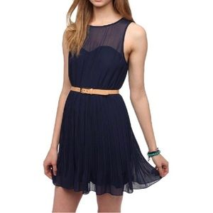 Pins Needles x Urban Outfitters Navy Pleated Dress